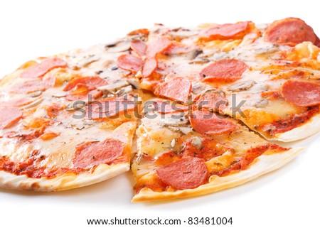 Pepperoni pizza on a white background - stock photo
