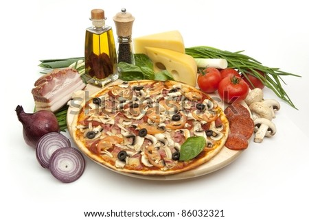 Pepperoni pizza on a white background - stock photo