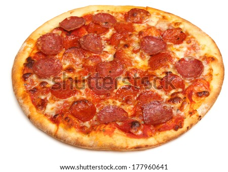 Pepperoni pizza on white background