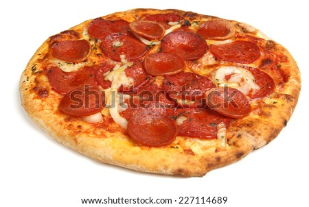 Pepperoni pizza on white background - stock photo