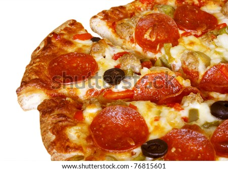 Pepperoni pizza on white background - stock photo