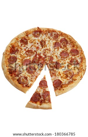 Pepperoni pizza pie with one slice cut out - stock photo