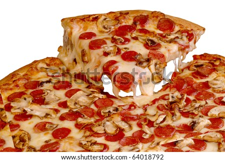 Pepperoni Pizza Slice - stock photo