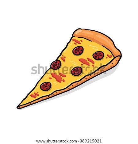 Pepperoni Pizza slice illustration - stock photo