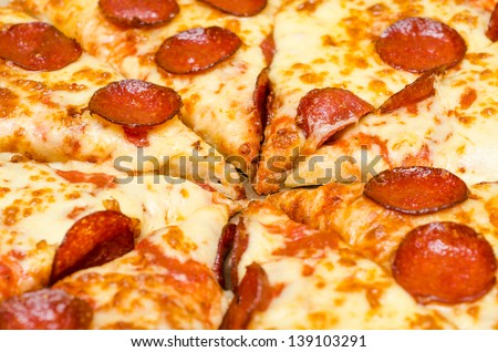 Pepperoni Pizza Slices - stock photo