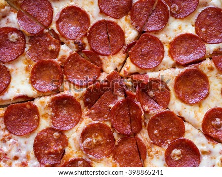 Pepperoni pizza view from above - stock photo