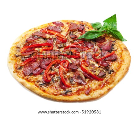 Pepperoni Pizza with Bell Pepper and Basil