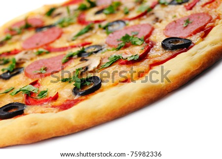 Pepperoni pizza with mushrooms, shrimps and olives over white background - stock photo