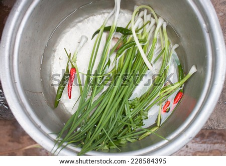 Peppers and onions in water for cooking.