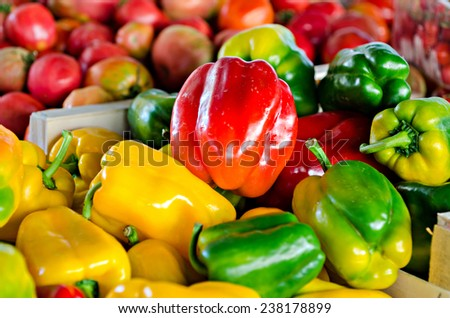peppers for sale at the vegetable market - stock photo