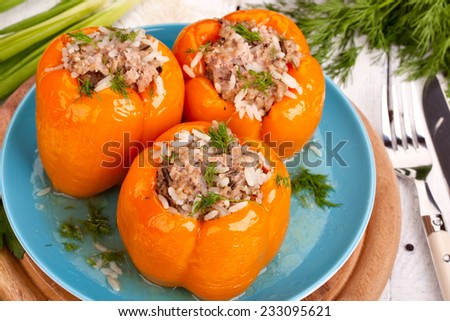 Peppers stuffed with rice and meat - stock photo