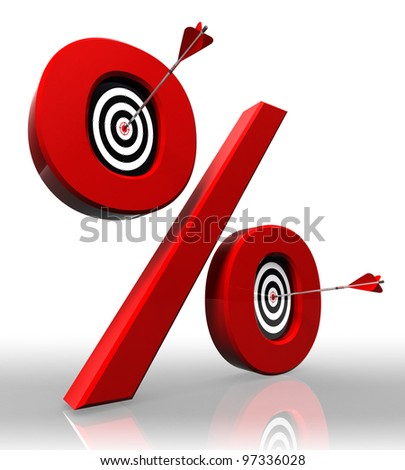 per cent red symbol with conceptual targets and arrow on white background clipping path included