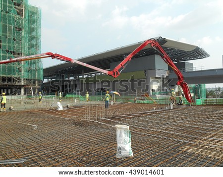 PERAK, MALAYSIA -APRIL 14, 2016: Concrete pumping machine able to pump concrete in large quantities at one time. It can save time and speed up concrete work.
