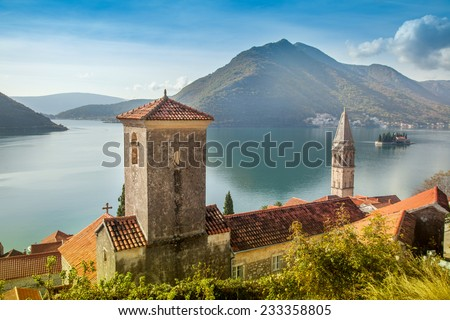 Perast city, Montenegro, beautiful summer landscape - stock photo