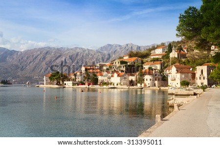 Perast, Kotor bay, Montenegro, Adriatic sea - stock photo