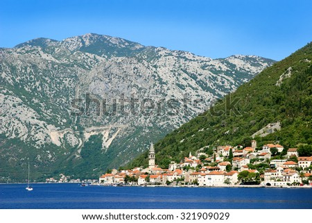 Perast, Montenegro. Bay of Kotor - stock photo