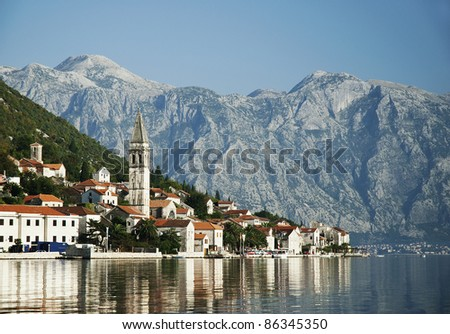 perast village in kotor bay montenegro - stock photo