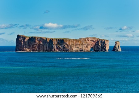Perce Rock, famous place in Gaspe, Quebec, Canada - stock photo
