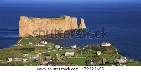 Perce Rock, panoramic aerial view, Quebec, Canada