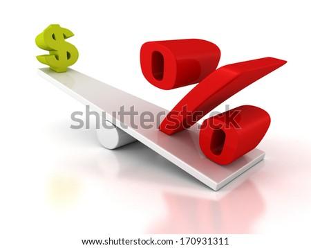 percent and dollar symbols on scales balance - stock photo