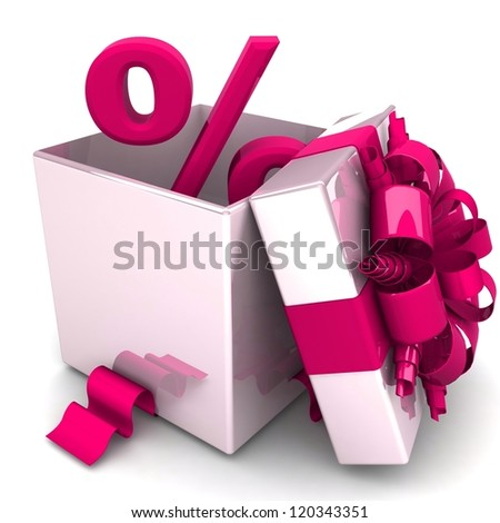 percent discount for free! opened gift box, with a pink ribbon like a present. over white background 3d illustration.