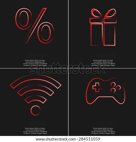 percent, gift, wifi, joystick icon. Set of four red neon symbols. Raster version. - stock photo