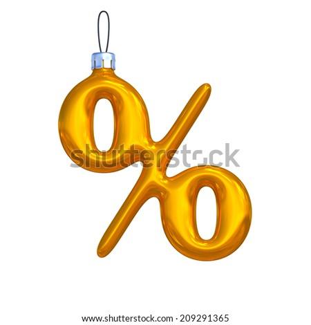 Percent. Golden shining christmas ball. Alphabet isolated on white background. - stock photo