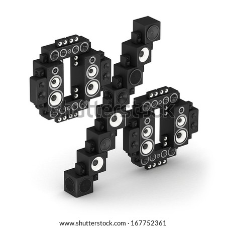 Percent sign from black woods hi-fi speakers sound systems in isometry - stock photo