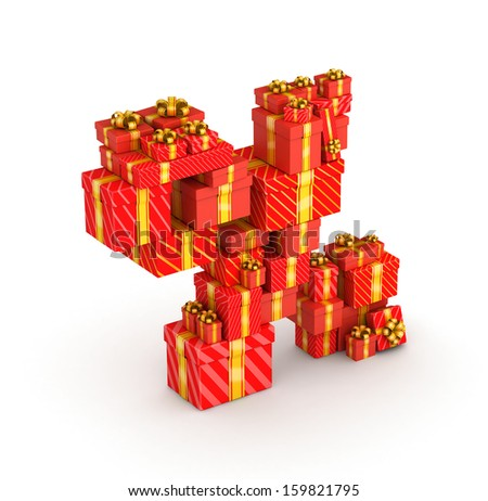 Percent sign from gift boxes in isometric decorated with yellow ribbons