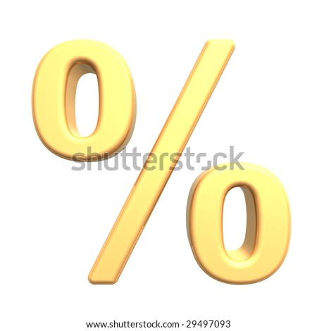 Percent sign from gold alphabet set, isolated on white. Computer generated 3D photo rendering.