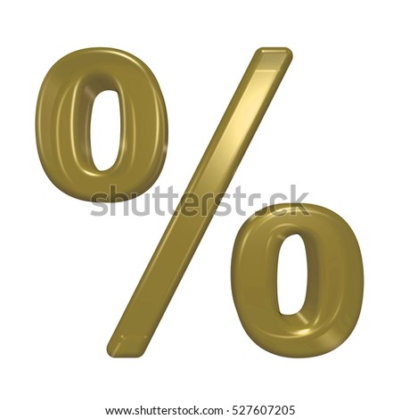 Percent sign from gold glass alphabet set, isolated on white. 3D illustration.