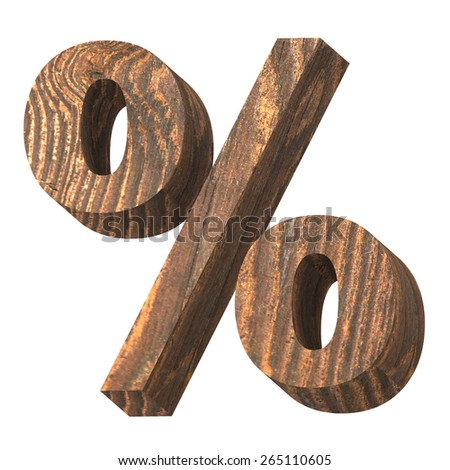 Percent sign from old pine wood alphabet set isolated over white. Computer generated 3D photo rendering. - stock photo