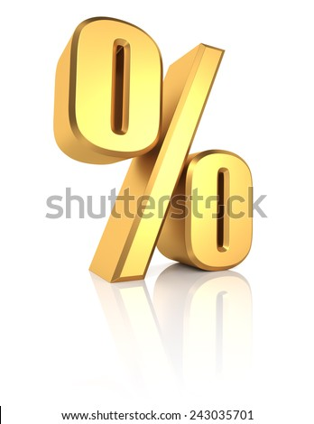 Percent sign. Gold metal letter on reflective floor. White background. 3d render - stock photo