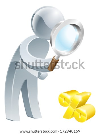 Percent sign magnifying glass person, man looking down at a percent sign with a magnifying glass