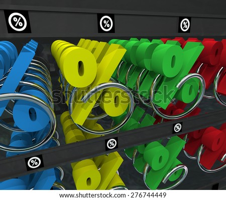 Percent Signs in a snack or vending machine to illustrate comparison shopping for the best interest rate, return on investment or loan - stock photo