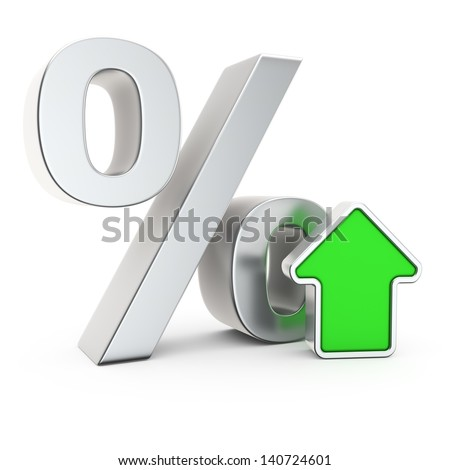 Percent symbol and icon of appreciation - stock photo