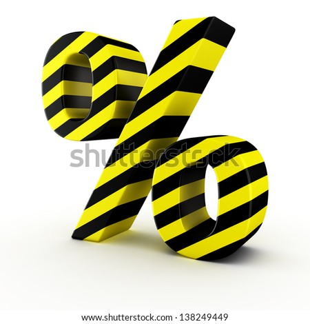 Percent symbol by black-yellow warning strips on white