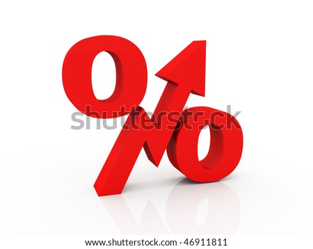 percent symbol with striving up arrow - stock photo