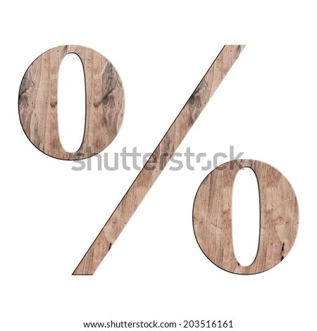 Percent Text in Wood texture on white background