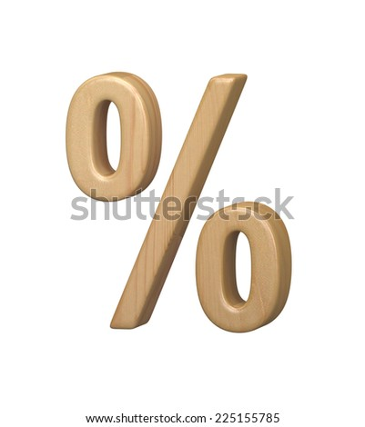 Percent. Wooden toy alphabet isolated on white. Wooden font.