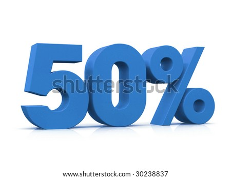 Percentage, 50% - stock photo