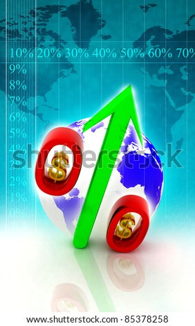 Percentage and arrow with dollar in color background - stock photo