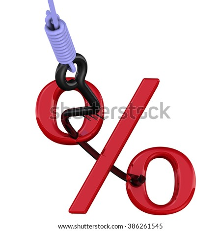 Percentage as the bait. Symbol percent in the form of bait on fishing hook. The three-dimensional illustration. Isolated - stock photo