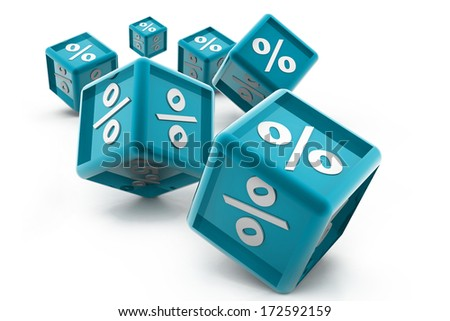 percentage cubes - stock photo