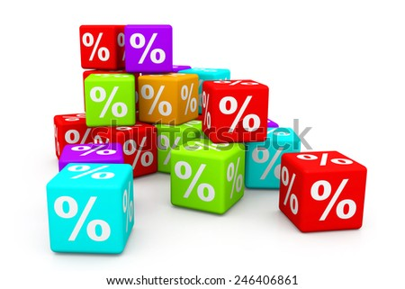 Percentage cubes - stock photo