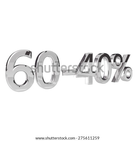 Percentage 60-40, isolated over white background, 3d render, square image