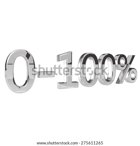 Percentage 0-100, isolated over white background, 3d render, square image