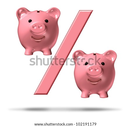 Percentage piggy bank symbol with a percent sign and pink savings pigs as representations in the financial icon representing interest rates and the business of lending and loans on white. - stock photo