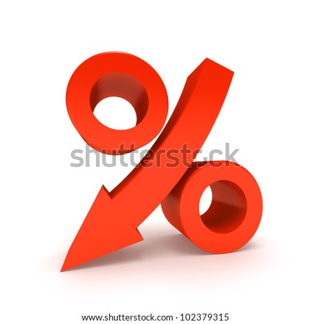 Percentage Sign Moving Down, Isolated On White. - stock photo