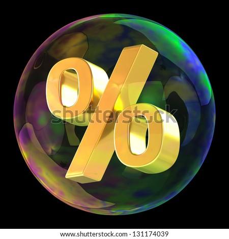 Percentage symbol in soap bubble as sale concept - stock photo